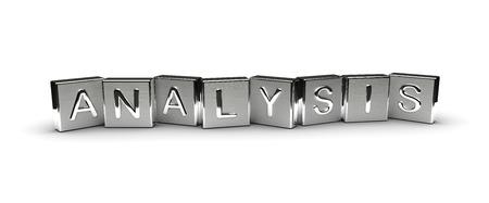 Metallanalyse Text auf weißem Hintergrund