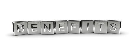 Metall Vorteile Text auf weißem Hintergrund Lizenzfreie Bilder