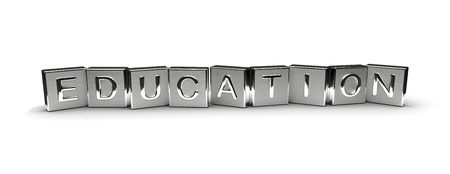 Metall, Bildung, Text auf weißem Hintergrund isoliert