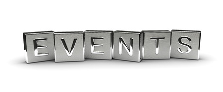 Metal Events Text isolated on white background Stock Photo