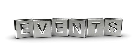 Metall Events Text auf weißem Hintergrund isoliert Lizenzfreie Bilder