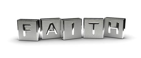 Metal Faith Text Isolated on white background Stock Photo