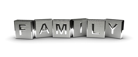 Metal Family Text Isolated on white background Stock Photo