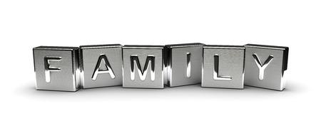 Metall Family Text auf weißem Hintergrund