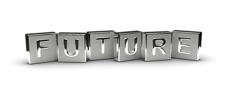 Metal Future Text isolated on white background Stock Photo