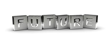 Metall Zukunft Text auf weißem Hintergrund Lizenzfreie Bilder