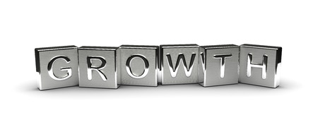 Metal Growth Text isolated on white background