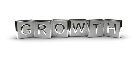 Metall Growth Text auf weißem Hintergrund isoliert