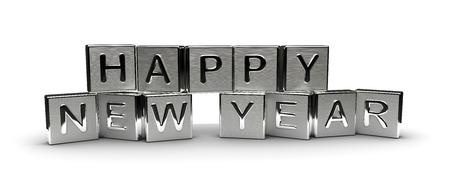 Metall Rutsch ins Neue Jahr Text auf weißem Hintergrund