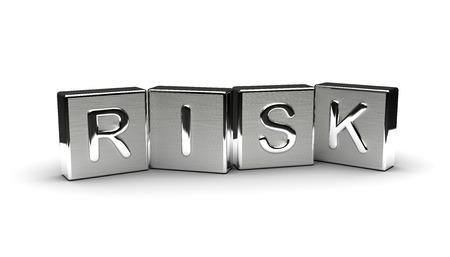 Metallrisiko Text auf weißem Hintergrund
