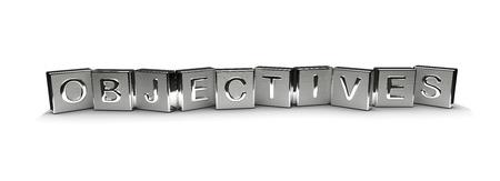 Metallziele Text auf weißem Hintergrund Lizenzfreie Bilder