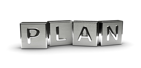 Metal Plan Text isolated on white background Stock Photo