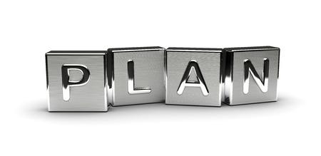 Metall-Plan Text auf weißem Hintergrund