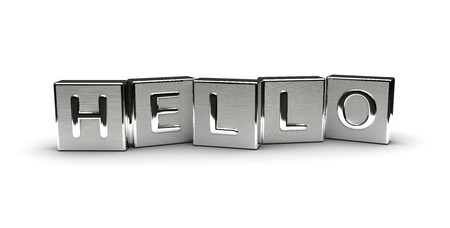 Metal Hello Text isolated on white background
