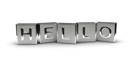 Metall Hallo Text auf weißem Hintergrund isoliert