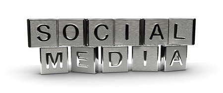 Metal Social Media Text isolated on white background