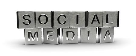 Metall Social Media Text auf weißem Hintergrund isoliert