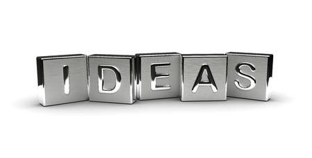 Metall-Ideen Text auf weißem Hintergrund isoliert
