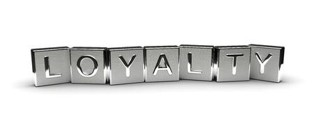 Metall Loyalty Text auf weißem Hintergrund isoliert Lizenzfreie Bilder