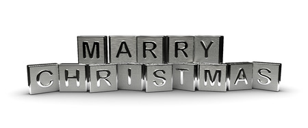 Metal Marry Christmas Text Isolated on white background