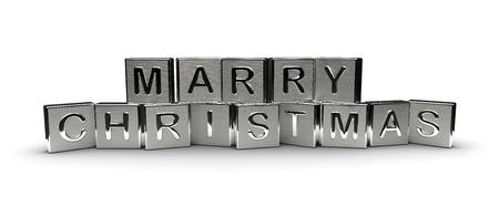 Metall Frohe Weihnachten Text auf weißem Hintergrund