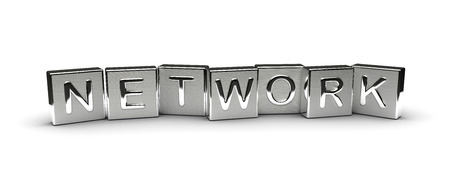 Metal Network Text isolated on white background Stock Photo