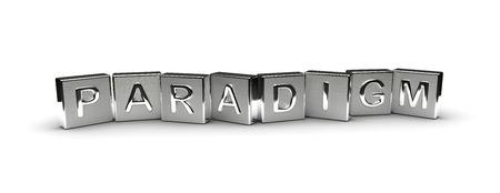 paradigma: Metal Paradigma texto aislado en el fondo blanco Foto de archivo