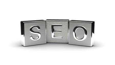 Metal Seo Text isolated on white background Stock Photo