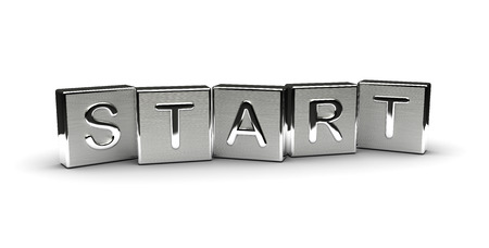 Metal Start Text Isolated on white background