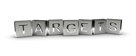targets: Metal Targets Text isolated on white background Stock Photo