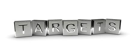 Metall-Targets Text auf weißem Hintergrund isoliert