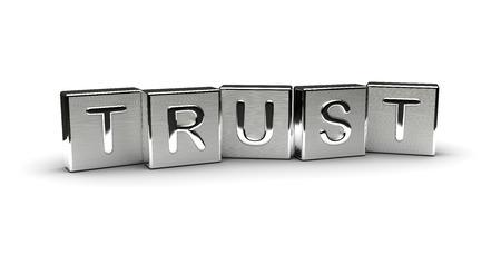 Metall Vertrauen Text auf weißem Hintergrund Lizenzfreie Bilder