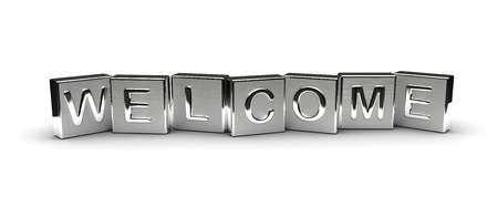 Metal Welcome Text isolated on white background