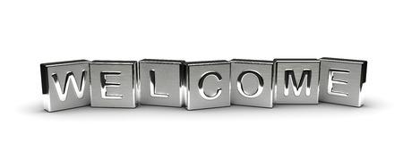 Metall Welcome Text auf weißem Hintergrund isoliert