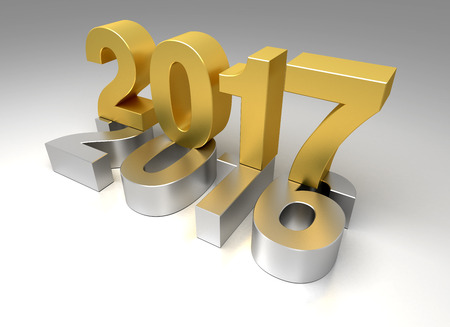 New Year 2017 and old 2016 Stock Photo