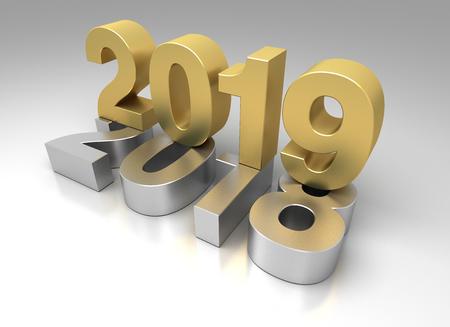 New Year 2019 fabd old 2018 版權商用圖片