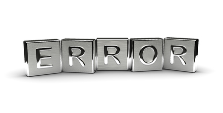 Error Text on Metal Block (Isolated on white background)