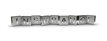 Insurance Text on Metal Block (Isolated on white background) 版權商用圖片