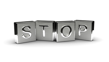 Stop Text on Metal Block (Isolated on white background)
