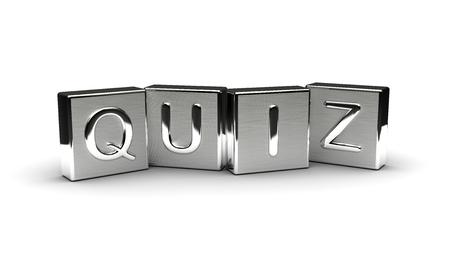 Quiz Text on Metal Block (Isolated on white background) 版權商用圖片