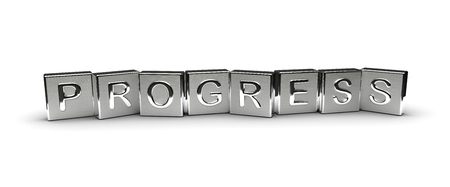 Progress Text on Metal Block (Isolated on white background)