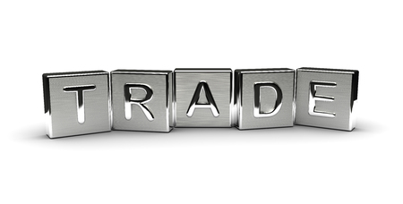 Trade Text on Metal Block (Isolated on white background)