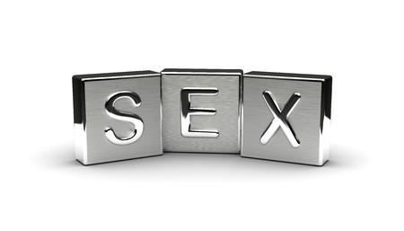 Sex Text on Metal Block (Isolated on white background) 版權商用圖片