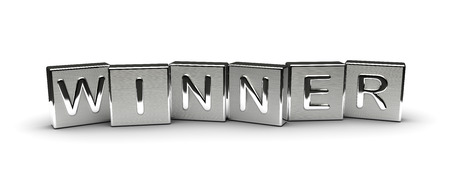 Winner Text on Metal Block (Isolated on white background)