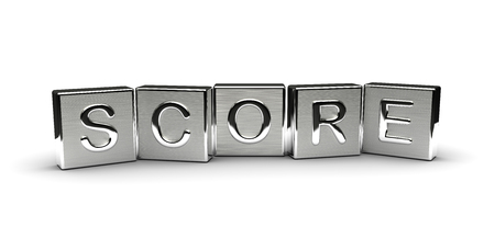 Score Text on Metal Block (Isolated on white background) 版權商用圖片