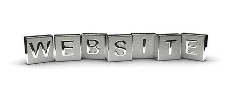 Website Text on Metal Block (Isolated on white background) 版權商用圖片