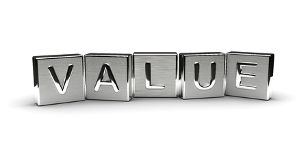 Value Text on Metal Block (Isolated on white background) 版權商用圖片
