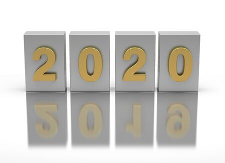 New Year 2020 and old 2019 on white background
