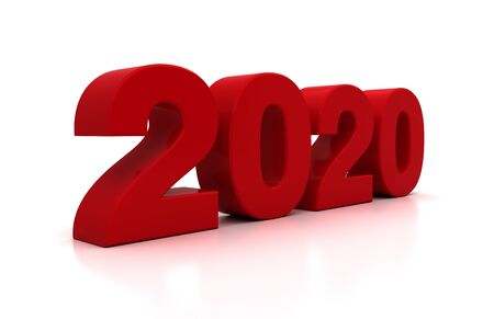 New Year 2020 on White Bacground Banque d'images