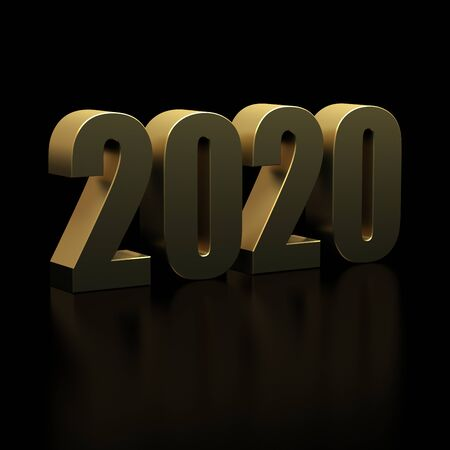 New Year 2020 on Black Bacground Banque d'images